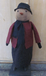 Brenda Primitive Snowman Doll in Flannel Dress & Hat - handcrafted in Ohio