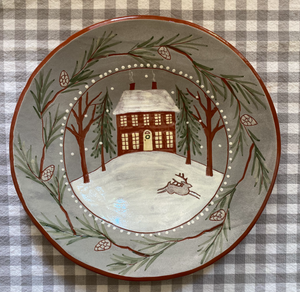 Home for the Holidays Redware Plate