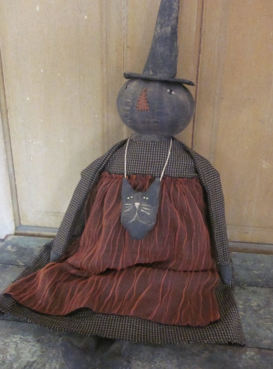 Hester Primitive Witch Doll with Muslin Cat Necklace