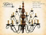 Elder's 3  Tier Wooden Chandelier Original Finish/Pumpkin Spice