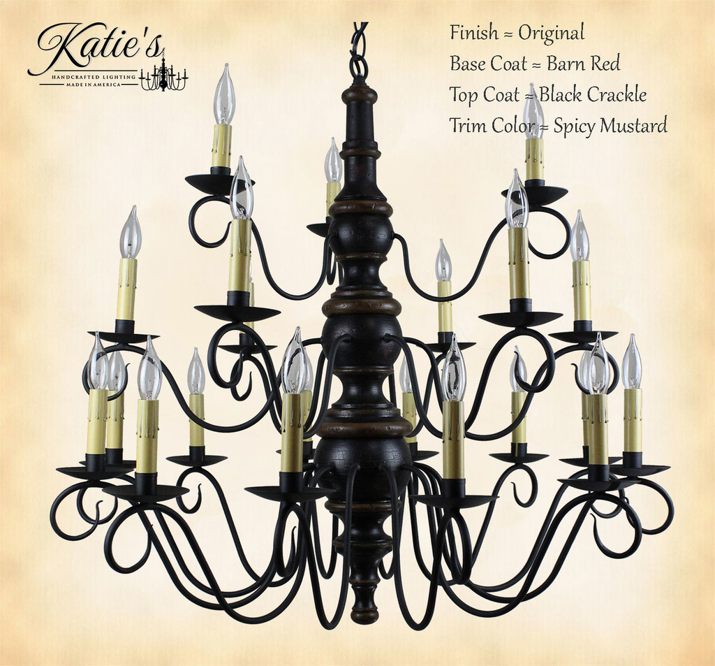 Elder's 3 Tier Wooden Chandelier-Original/Barn Red/Black Crackle/Spicy Mustard