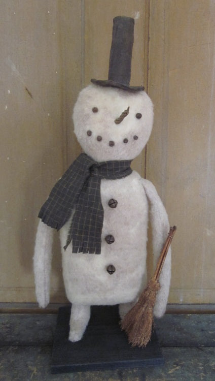 Mr. Flake Standing Primitive Snowman Doll with Broom