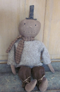 Ralphie the Primitive Snowman Wearing Sweater and Coordinating scarf. So cute!