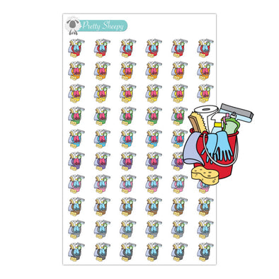 Cleaning Bucket Stickers - Rainbow Doodles