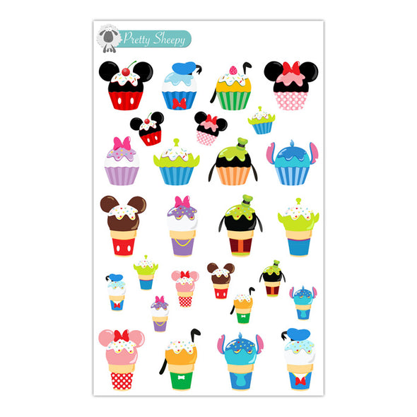 Character Cupcakes & Ice Cream Stickers