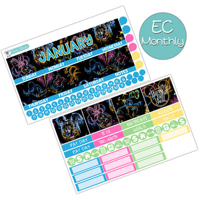 Magical New Year January Monthly Kit for the Erin Condren Planner