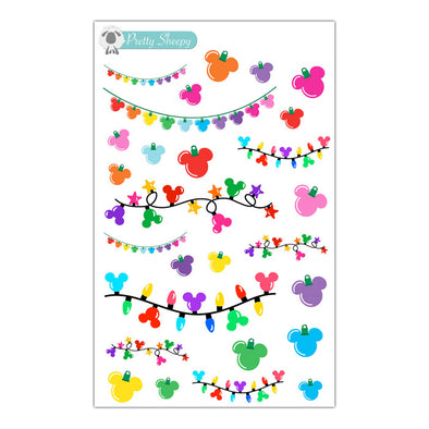 Magical Mouse Christmas Lights Stickers