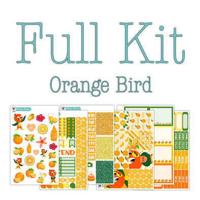 Orange Bird Planner Stickers Collection