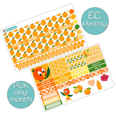 Orange Bird Monthly Kit for Erin Condren Planner - Pick ANY Month!