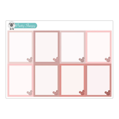 Rose Gold Glitter Mouse Full Boxes Stickers