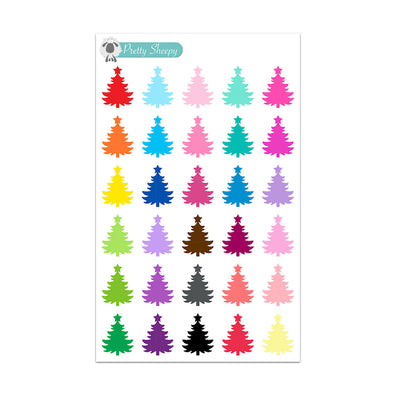 Colorful Christmas Tree Stickers
