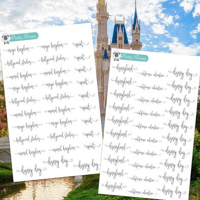 Disney Day Park Script Stickers