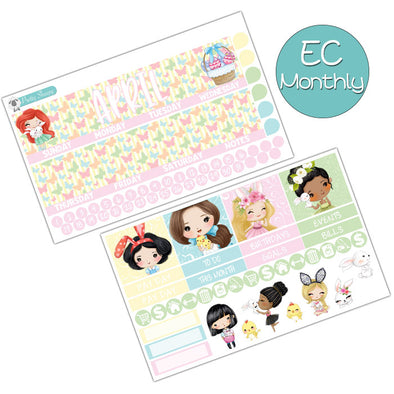 Easter Princesses April Monthly Kit for Erin Condren Planner