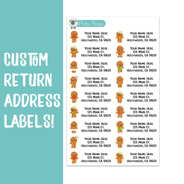 Gingerbread Zombies Christmas Custom Return Address Labels