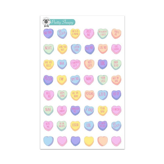 Mean Valentine Candy Hearts Stickers
