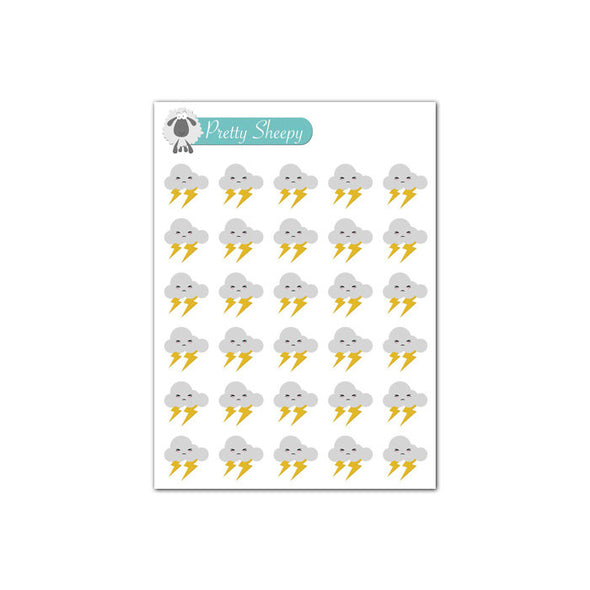 Mini Sheet - Kawaii Weather (Thunderstorm) Planner Stickers