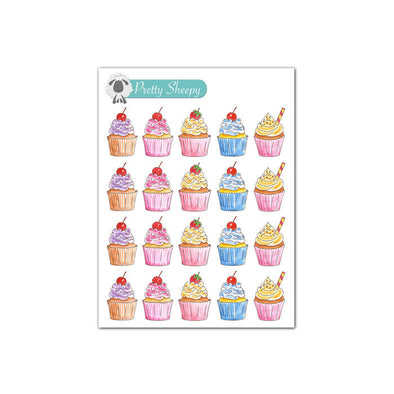 Mini Sheet - Watercolor Cupcakes Stickers
