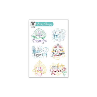 Mini Sheet - Princess Quotes Stickers