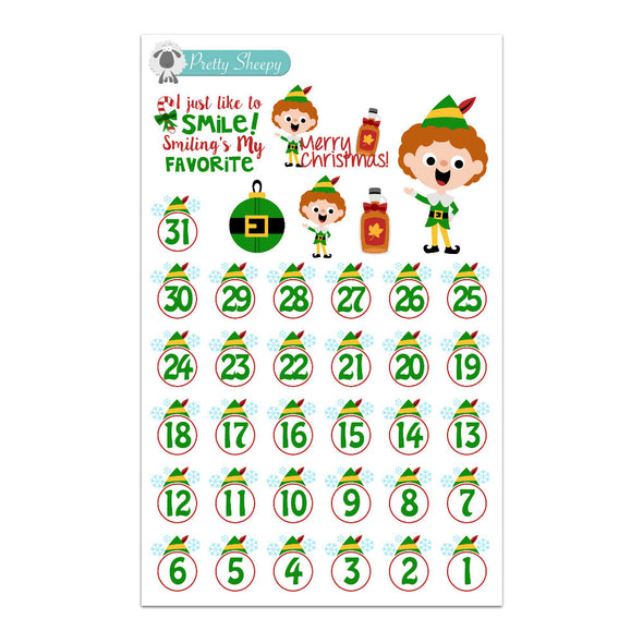 Elf Countdown or Date Cover Stickers