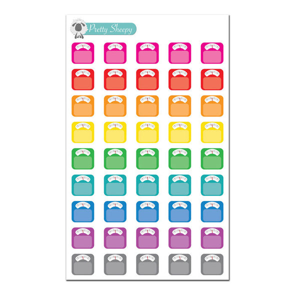 Colorful Scale Stickers - Weight Loss Fitness Workout Planner Stickers