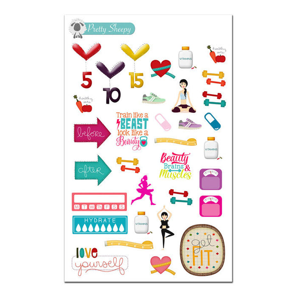Fitness Planner Stickers Sampler