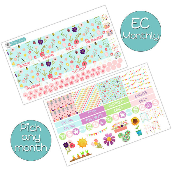 Flower and Garden Monthly Kit for Erin Condren Planner - Pick ANY Month!