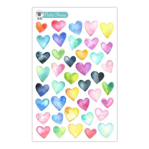 Watercolor Hearts Stickers