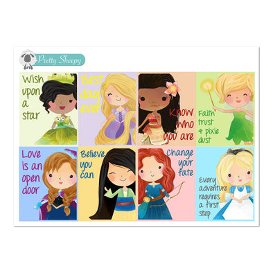 Princess Quotes V2 Full Box Stickers