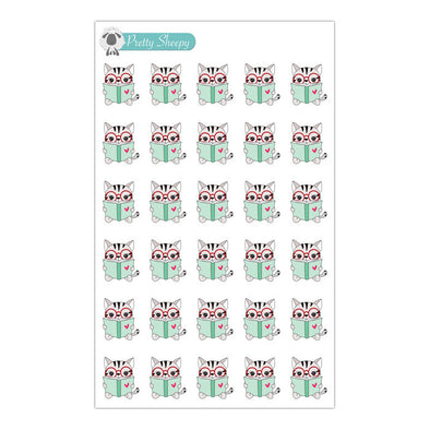 Book-lover Reading Cat Stickers