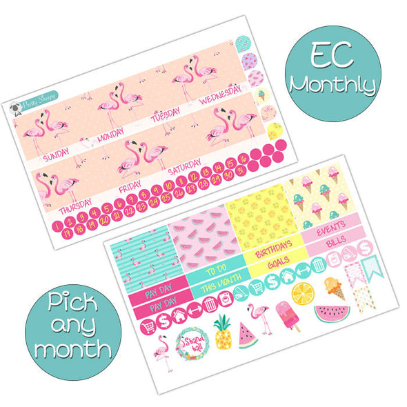 Summer Flamingo Monthly Kit for the Erin Condren Planner - Pick ANY Month!
