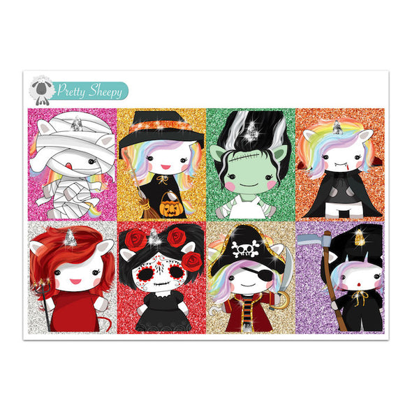 Halloween Unicorn Full Boxes Stickers