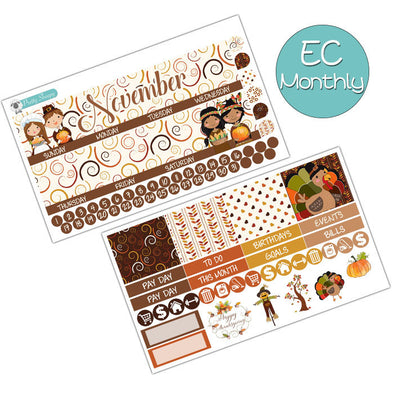 Happy Thanksgiving November Monthly Kit for Erin Condren Planner