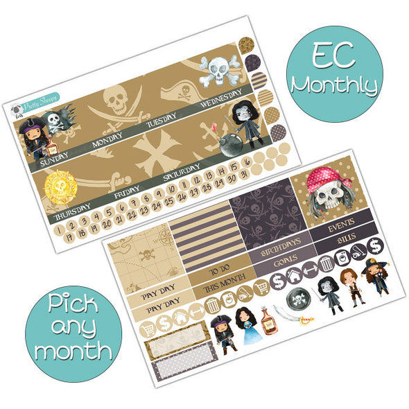 Pirate's Life Monthly Kit for Erin Condren Planner - Pick ANY Month!