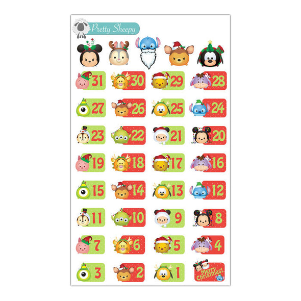 Christmas Tsum Tsum Countdown Stickers