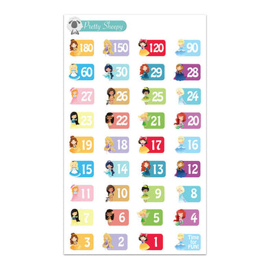 Princess Countdown Stickers