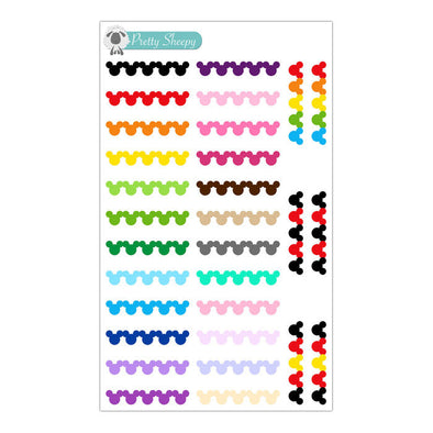 Colorful Mickey Head Strips Stickers