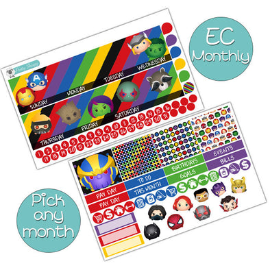 Avengers Tsums Monthly Kit for Erin Condren Planner - Pick ANY Month!