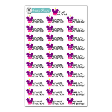 Disney Birthday Countdown Stickers