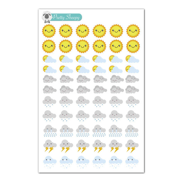 Weather Kawaii Planner Stickers