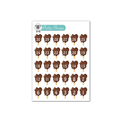 Mini Sheet - Mickey Ice Cream Bar Countdown Planner Stickers