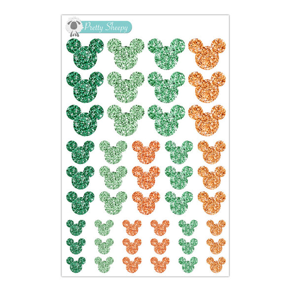 St. Patrick's Day Glitter Mickey Heads Stickers