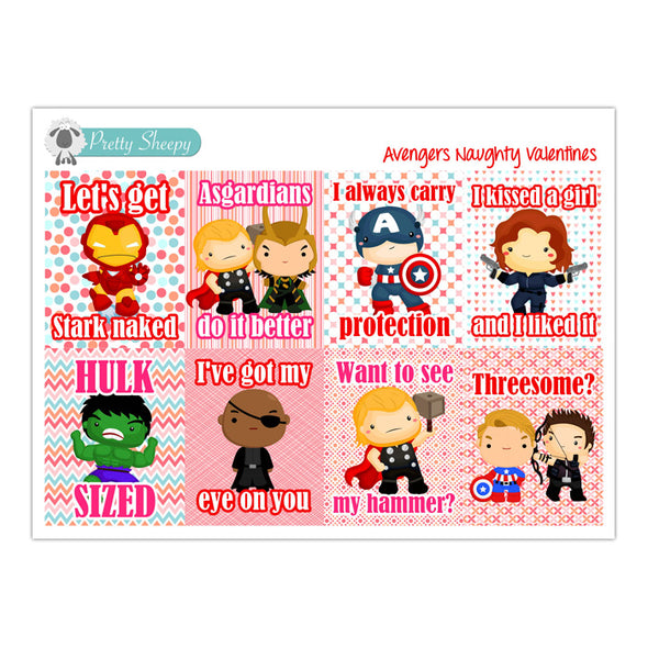 Naughty Avengers Valentine Full Box Stickers