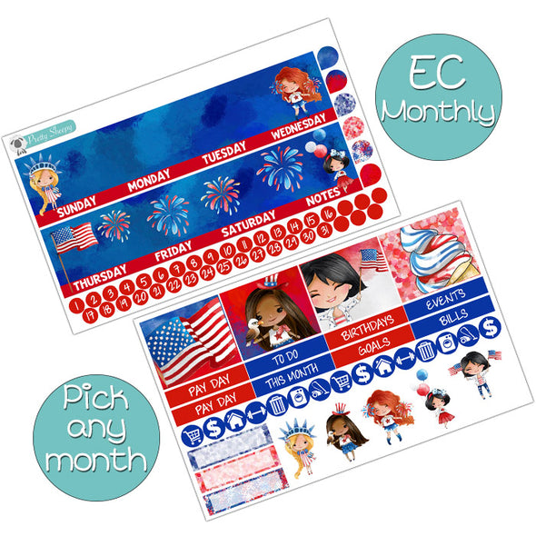 Patriotic Princess Monthly Kit for Erin Condren Planner - Pick ANY Month!