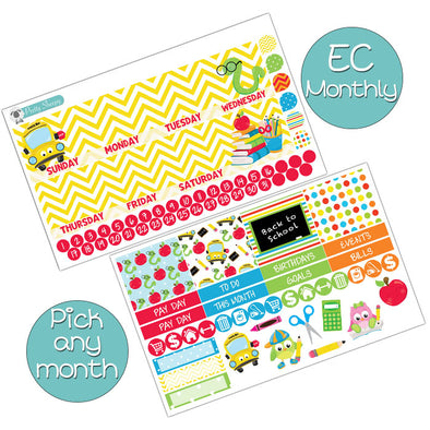School Days Monthly Kit for Erin Condren Planner - Pick ANY Month!