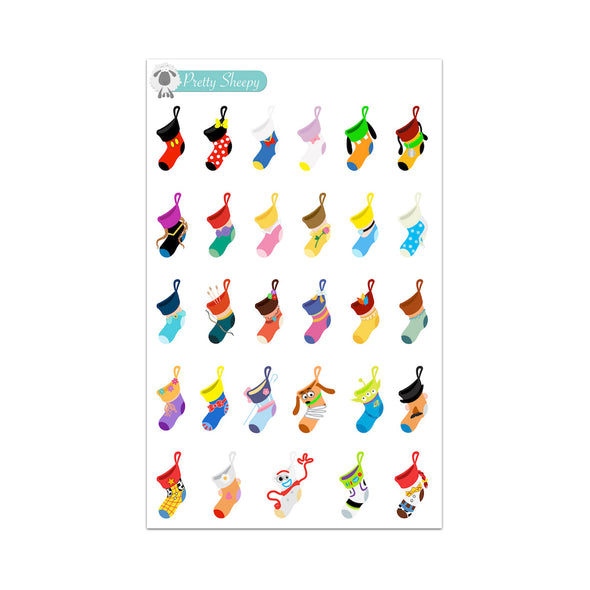 Character Christmas Stockings Stickers