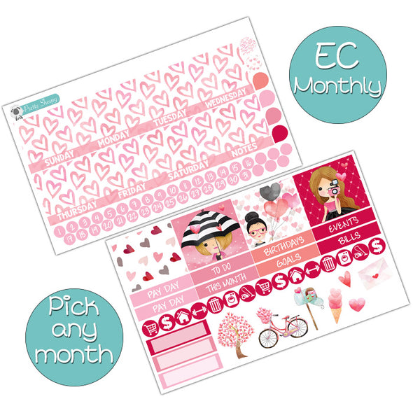 Sweet Hearts Monthly Kit for Erin Condren Planner - Pick ANY Month!