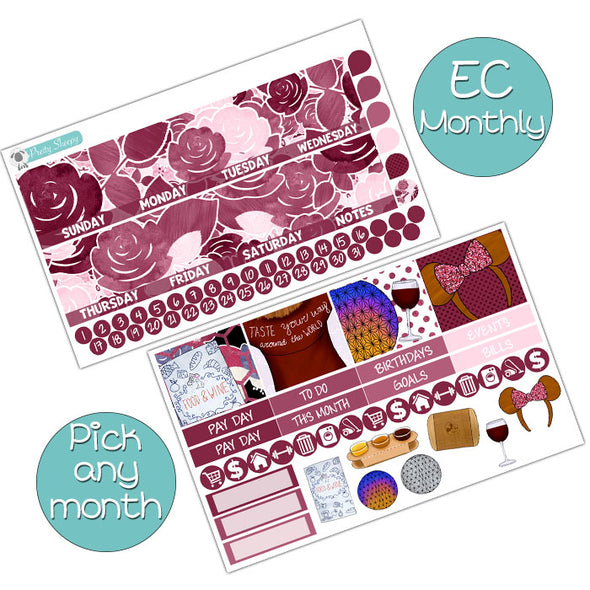 Taste Epcot Monthly Kit for Erin Condren Planner - Pick ANY Month!