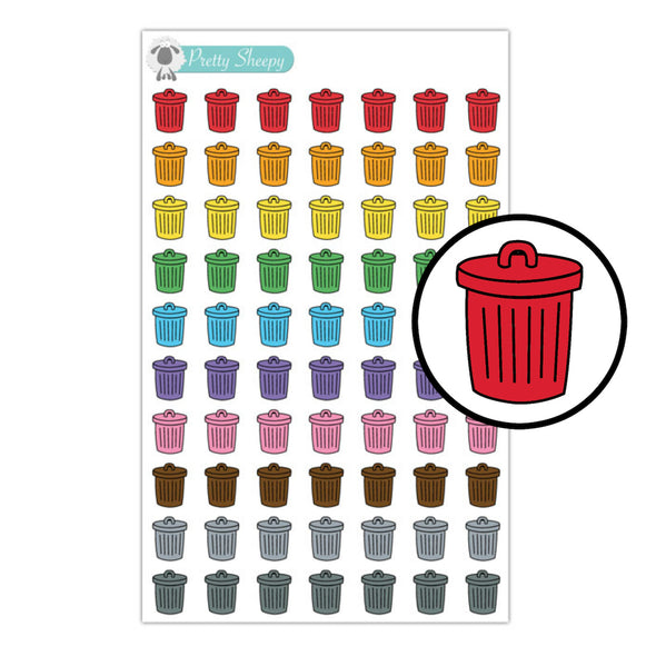Trash Cans Stickers - Rainbow Doodles