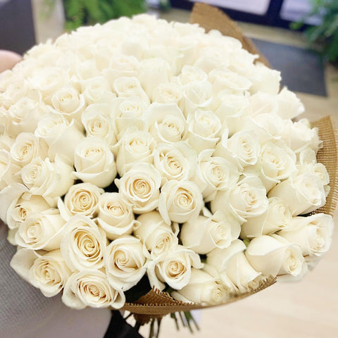 75 White Roses / Hand Tied
