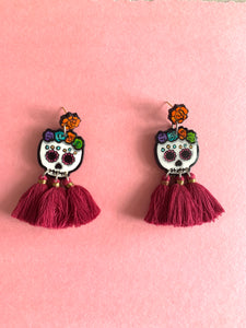 Calavera wood earrings - colibrilove